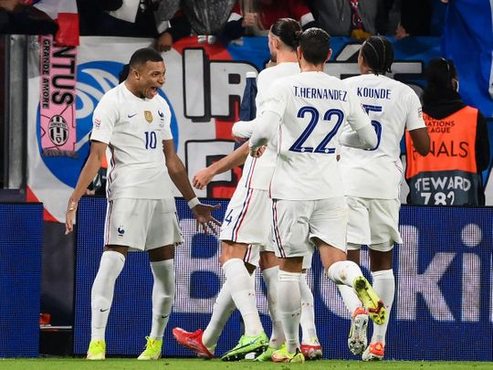 France's Kylian Mbappe celebrates with teammates after scoring against Belgium in the Nations League