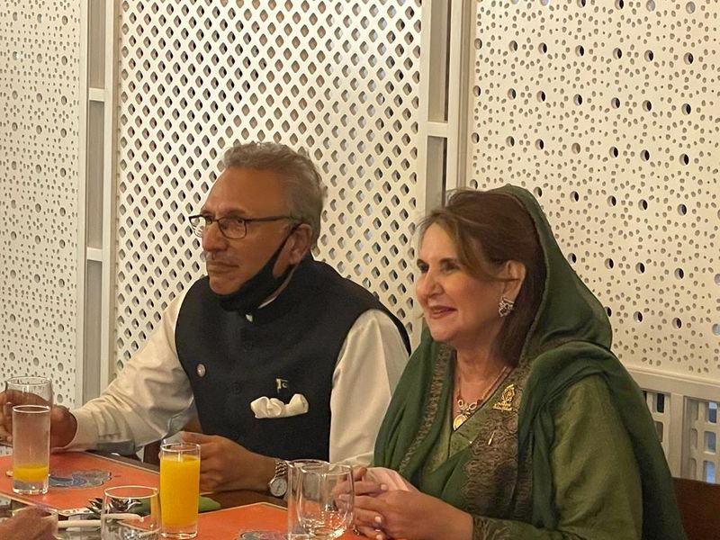 Pakistan President Dr Alvi with his wife Samina Alvi at The Dhaaba restaurant at the Pakistan Pavilion