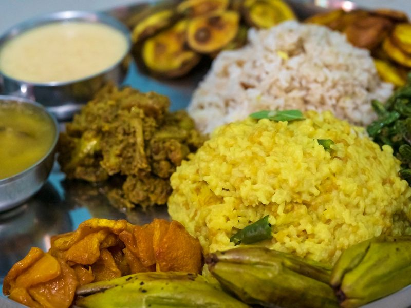 A traditional Bengali bhog or meal during Durga Puja