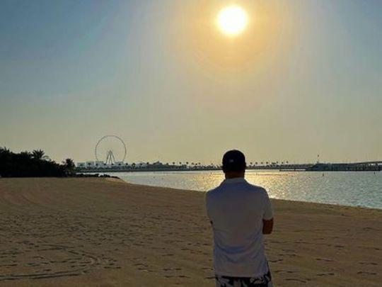 Abhishek Bachchan enjoying the Dubai sunset