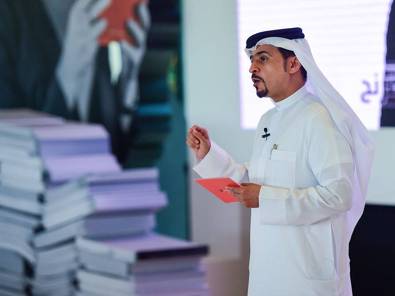 Ahmed bin Rakkad Al Ameri, Chairman of SBA, during the press conference to announce the details of the 40th edition of the Sharjah International Book Fair 2021, at House of Wisdom, Sharjah on Wednesday