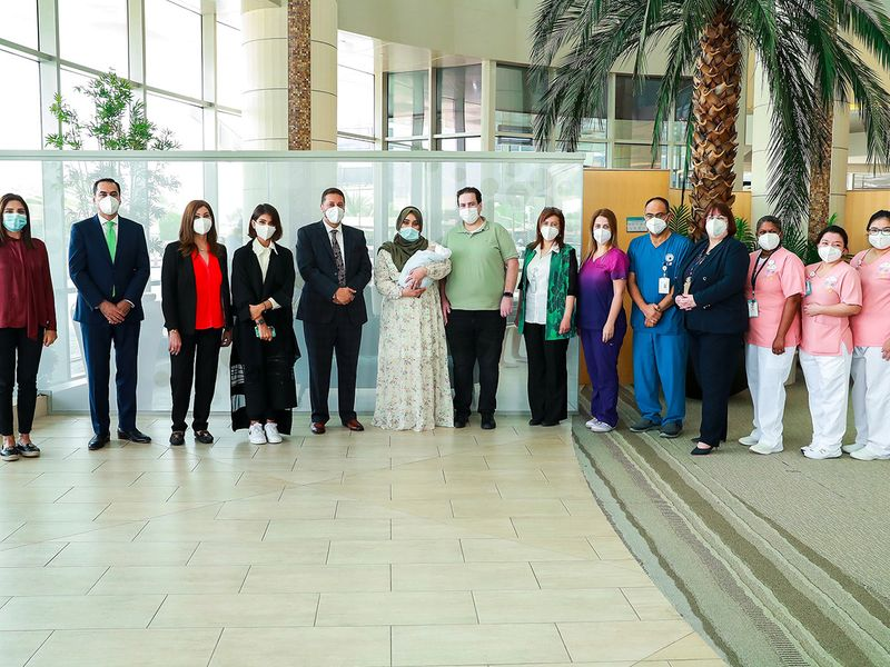 Baby Adel with his parents and staff of Danat Al Emarat hospital