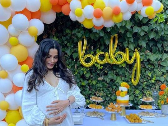 Frieda Pinto at her baby show