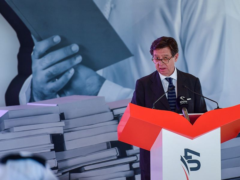 Inigo de Palacio, Ambassador of the Kingdom of Spain to the UAE, during the press conference to announce the details of the 40th edition of the Sharjah International Book Fair 2021 at House of Wisdom, Sharjah, on Wednesday