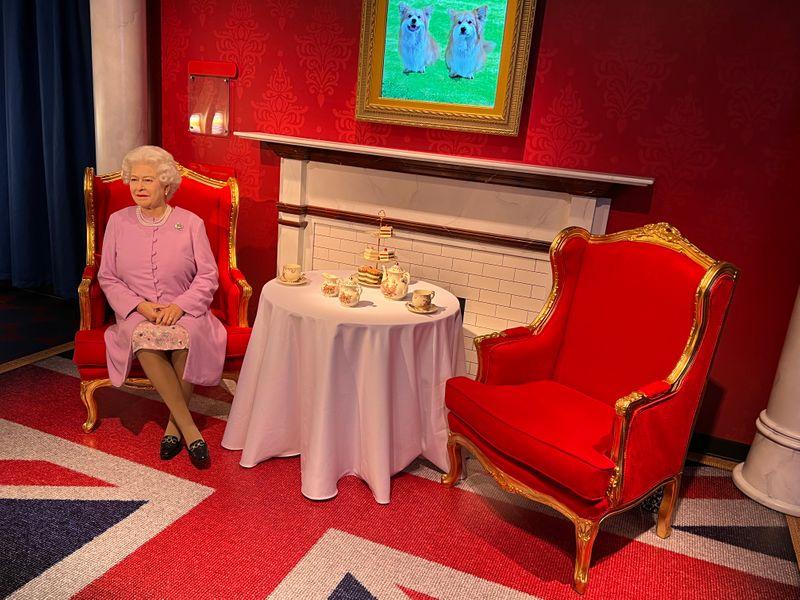 Wax statue of British royal Queen Elizabeth II at Madame Tussauds Dubai