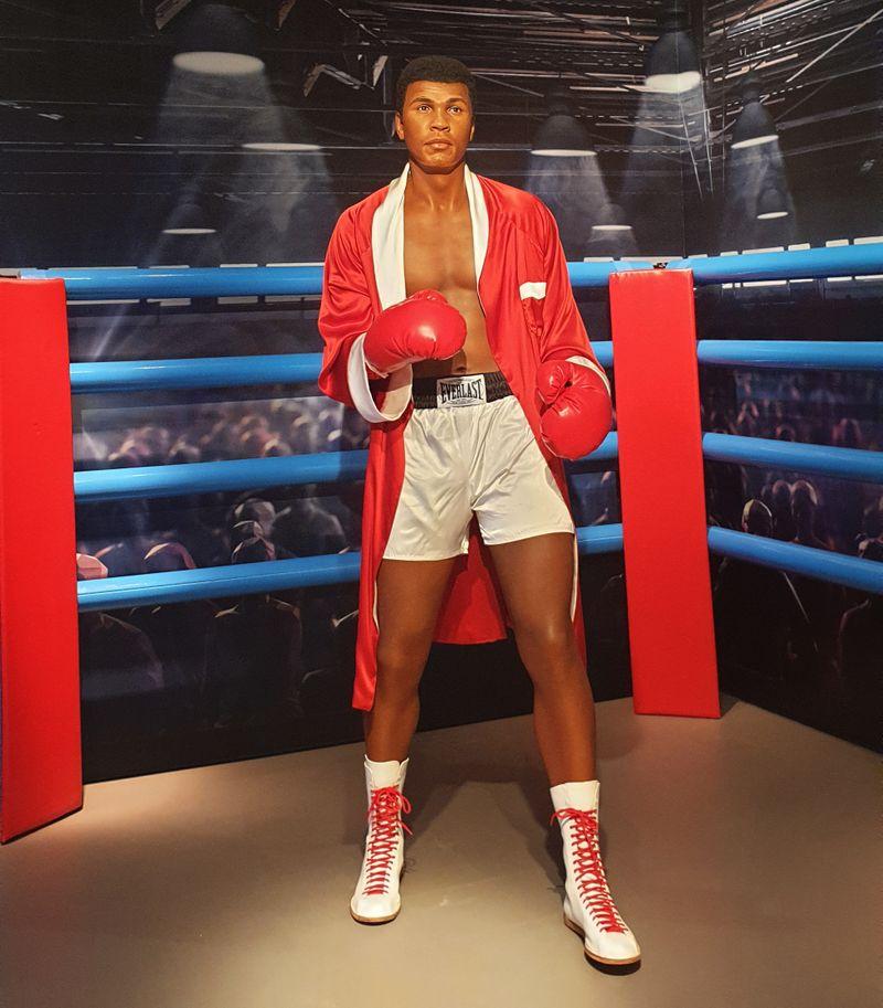 Wax statue of Muhammad Ali at Madame Tussauds Dubai