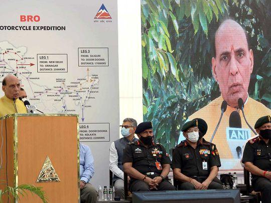 India's Defence Minister Rajnath Singh Sela tunnel arunachal