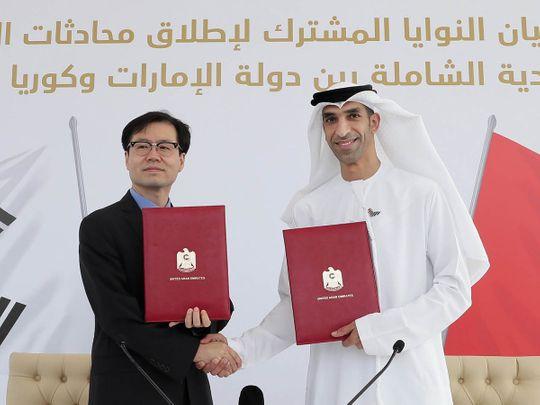 Stock - UAE and South Korea trade talks