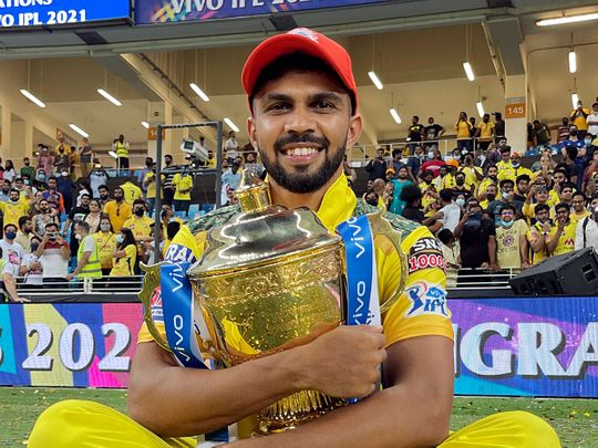 Ruturaj Gaikwad of Chennai Super Kings with the IPL trophy in front of the fans after a thrilling season 14 in the UAE
