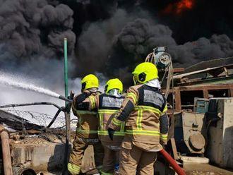 Fire Jebel Ali Dubai oil waste