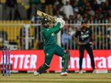 Pakistan's Asif Ali hits a six against New Zealand