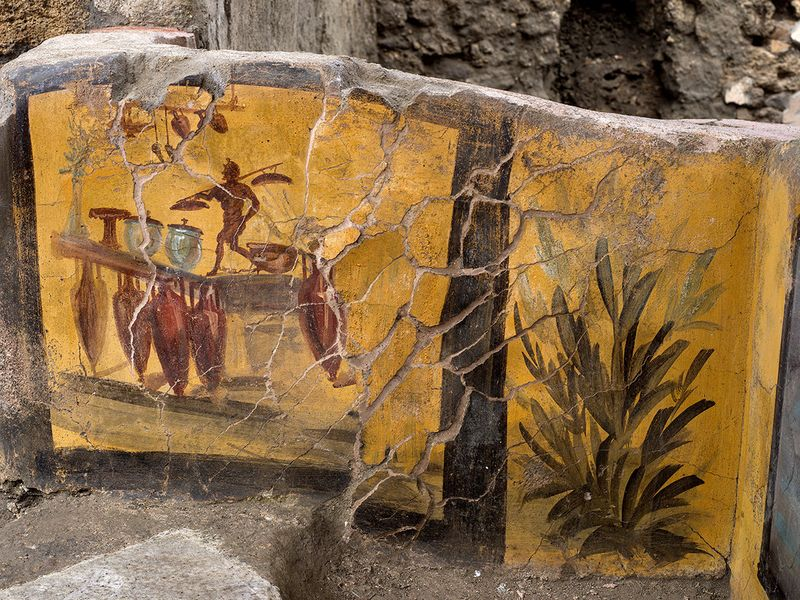 A fresco on an ancient counter uncovered during excavations in Pompeii.