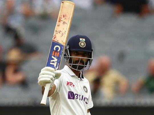 Ajinkya Rahane celebrates his century against Australia