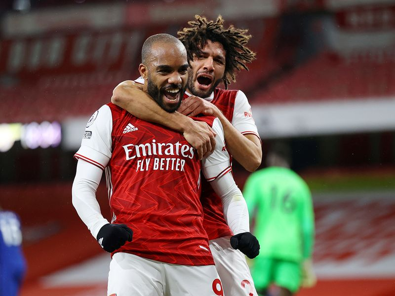 Arsenal's Alexandre Lacazette celebrates scoring their first goal against Chelsea