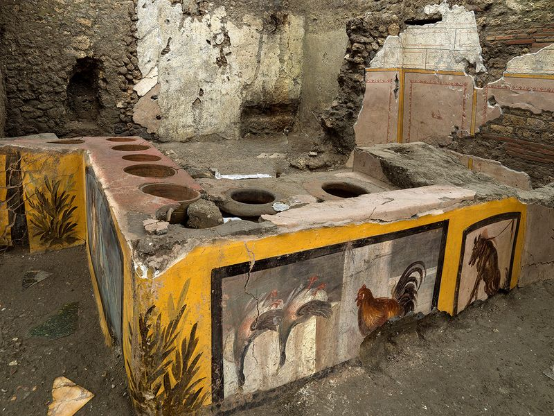 Frescoes on an ancient counter discovered during excavations in Pompeii, Italy.
