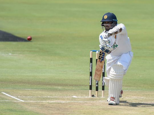 Sri Lanka's Dasun Shanaka plays a shot on day two of the first Test match between South Africa and Sri Lanka