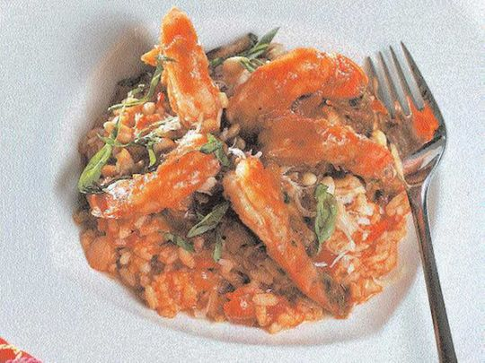 Risotto with Shrimp, Tomatoes and Basil