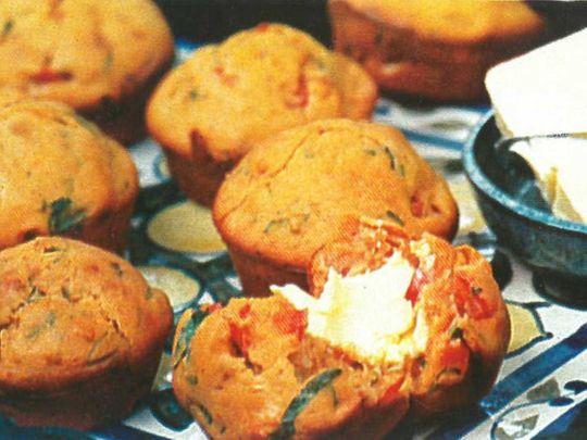 tomato and fresh basil muffins