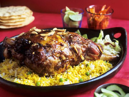 Easy Ouzi with curried rice