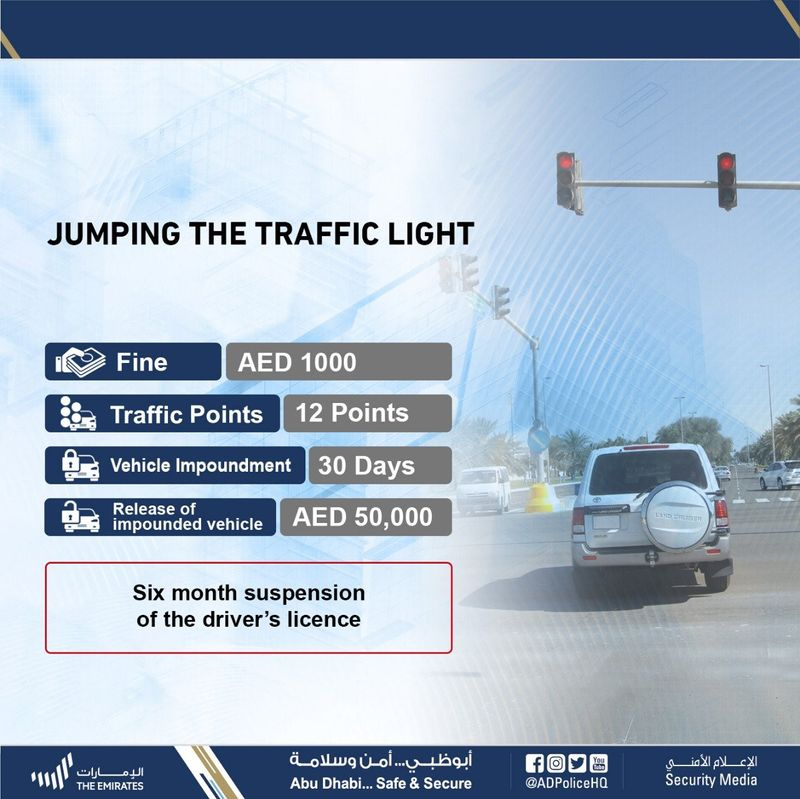 Jumping a red light in Abu Dhabi