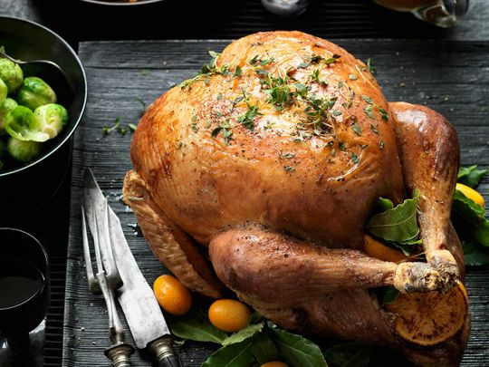 Roast turkey with sour cherry and chestnut stuffing