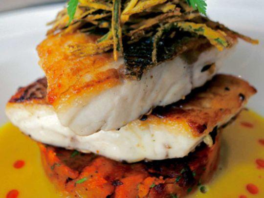 Spice-crusted sea bass