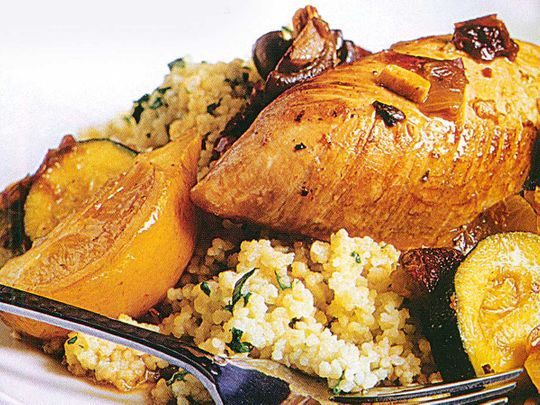 Turkey breast with preserved lemons and couscous