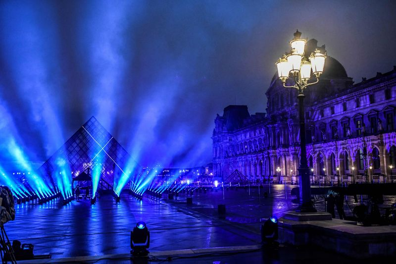 A picture shows a general view of the stage set up for French DJ David Guetta's 2021 New Year's eve livestream charity concert