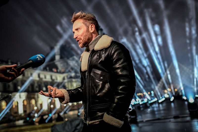 French DJ David Guetta answers AFP journalists' questions on the stage set up for his 2021 New Year's eve livestream charity concert