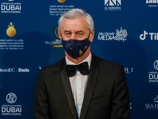 Ian Rush arrives at the Globe Soccer Awards in Dubai