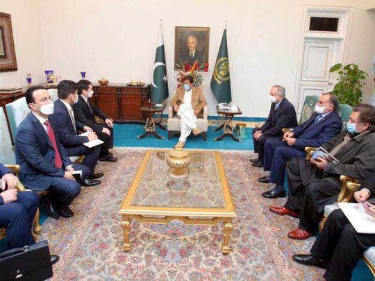 Uzbekistan's Minister for Transport Makhkamov Ilkham pakistan Prime Minister Imran Khan