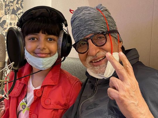 Amitabh Bachchan in the recording studio with granddaughter Aaradhya