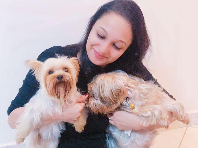Farah Naz with Bella and Zuni