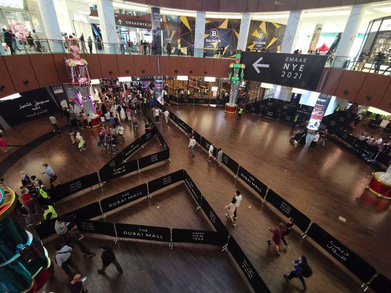 NYE preparations Dubai  Crowd in Dubai mall